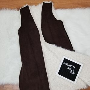 Brown Faux Sherling Lined Reversible Suede Vest